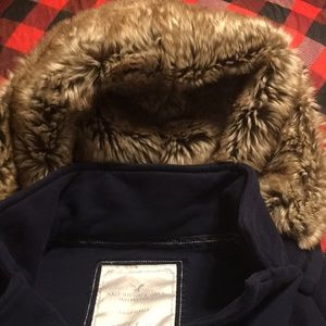 American Eagle Outfitters Jackets & Coats - American eagle pea coat style hoodie with fur hood